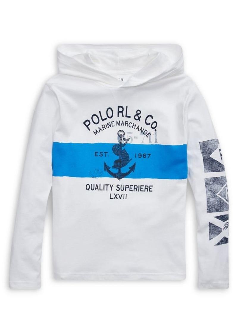 Ralph Lauren Childrenswear Boy's Printed Cotton Jersey Hooded Tee