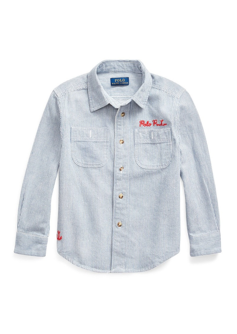 Ralph Lauren Childrenswear Boy's Stripe Ship Graphic Button-Down Shirt  Size 2-4