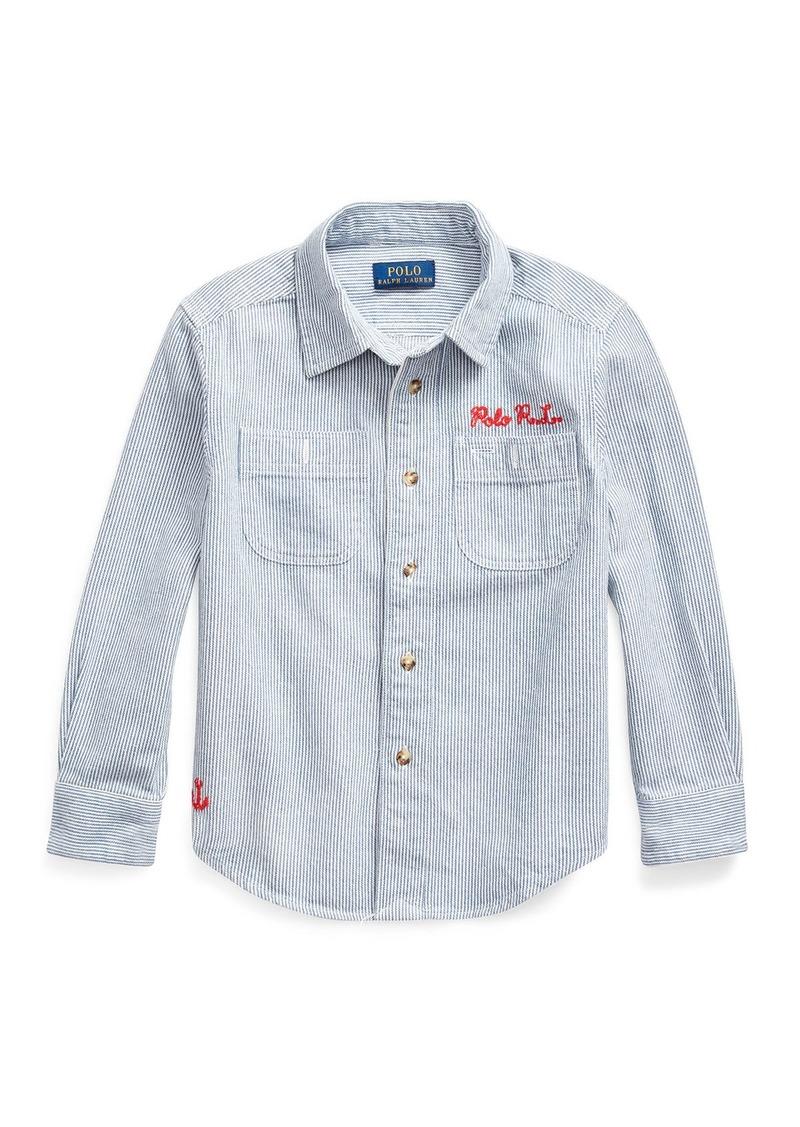 Ralph Lauren Childrenswear Boy's Stripe Ship Graphic Button-Down Shirt  Size 5-7