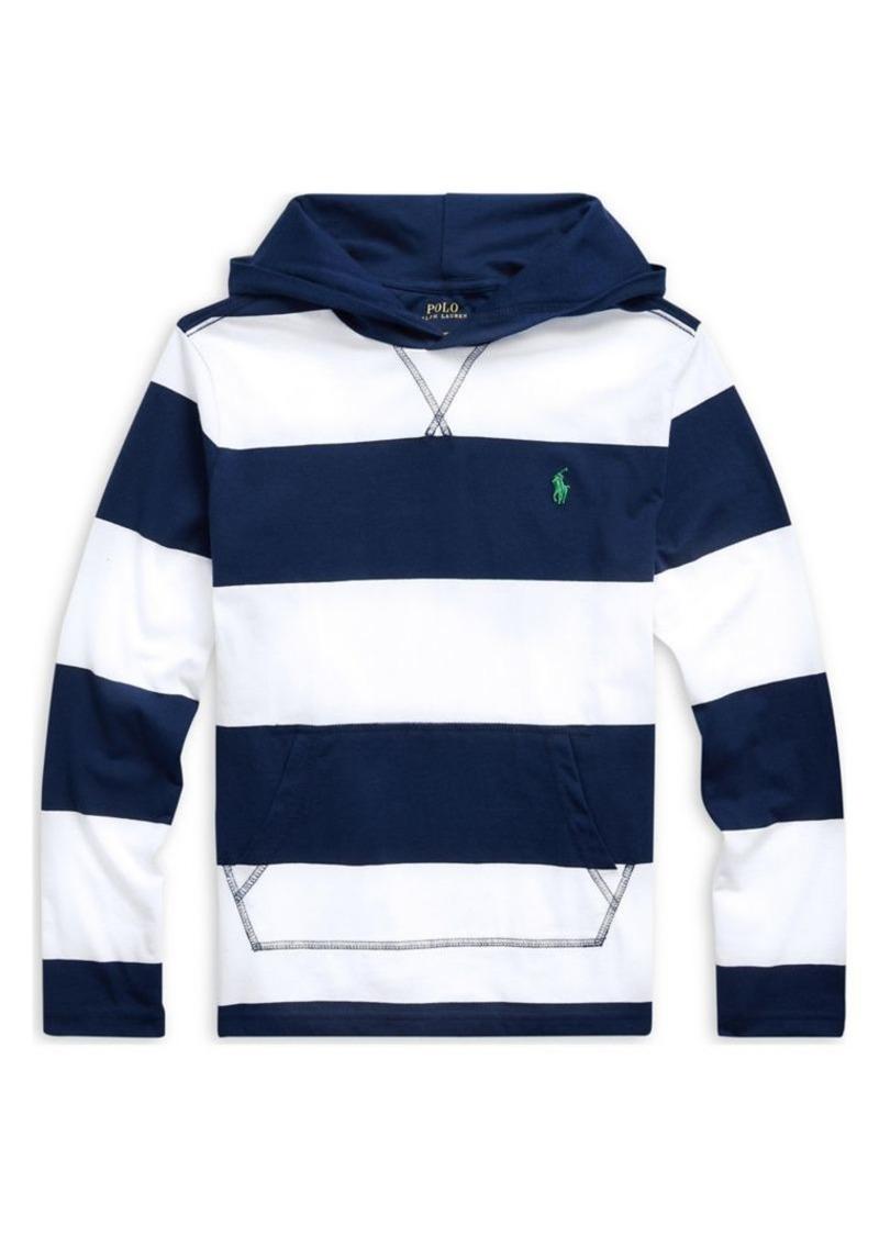 Ralph Lauren Childrenswear Boy's Striped Cotton Hooded Tee