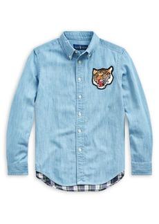 Ralph Lauren Childrenswear Boy's Tiger Plaid Cotton Chambray Shirt