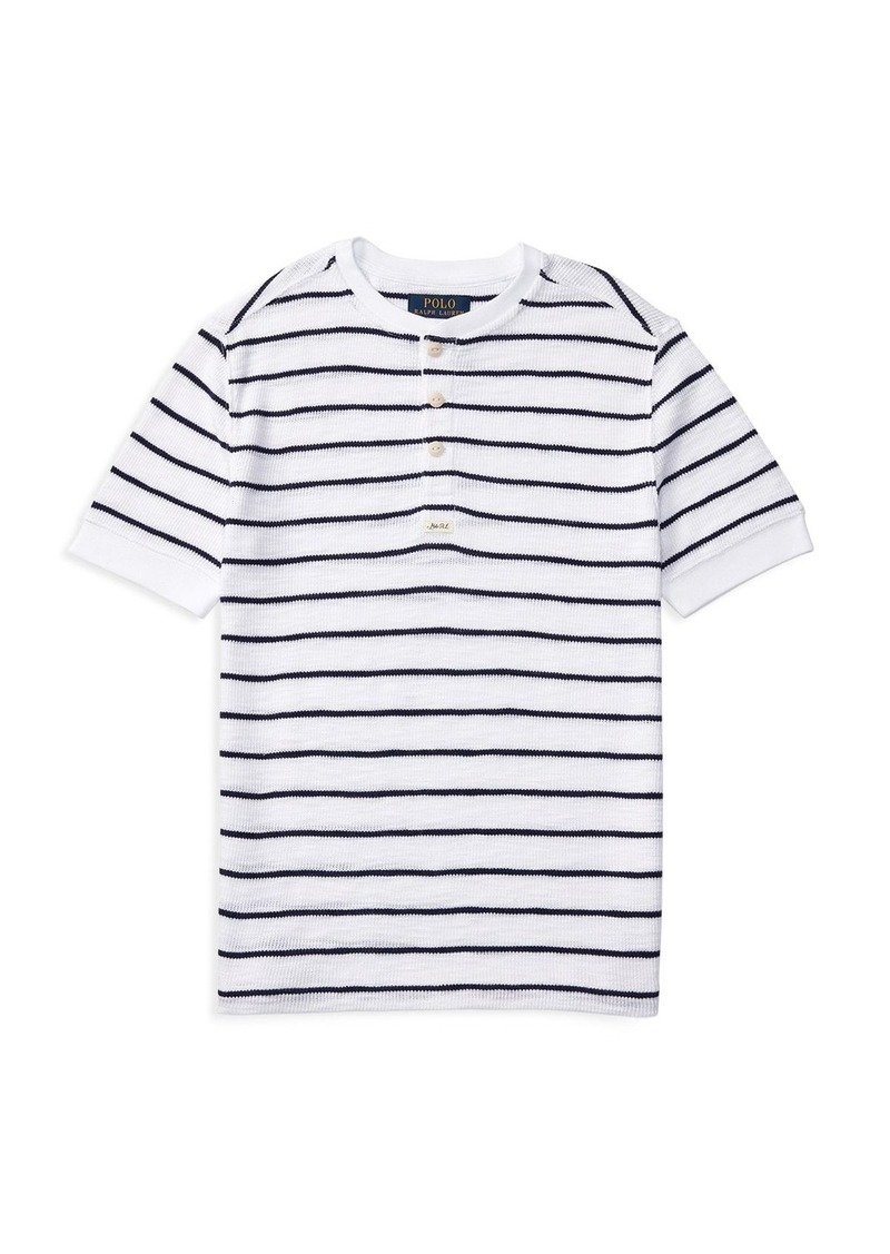 Ralph Lauren Childrenswear Boys' Waffle Henley Stripe Tee - Sizes S-XL