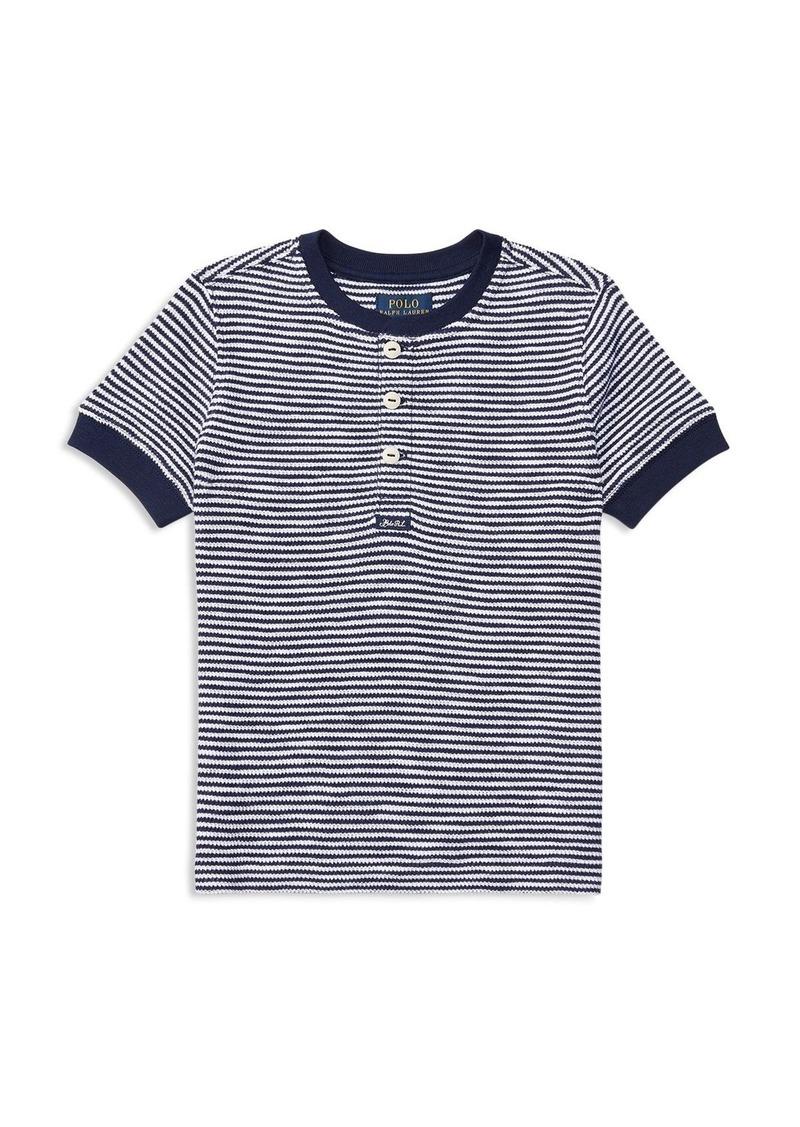 Ralph Lauren Childrenswear Boys' Waffle Henley Stripe Tee - Big Kid