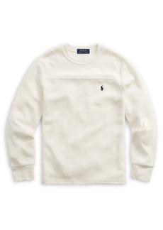 Ralph Lauren Childrenswear Boy's Waffle-Knit Long-Sleeve Cotton-Blend Tee