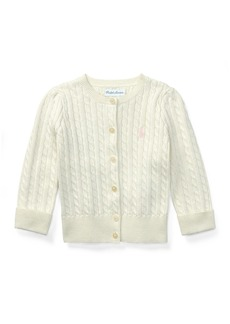 Ralph Lauren Childrenswear Cable Knit Cotton Cardigan  Size 3-12 Months