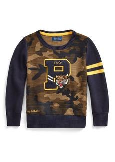 Ralph Lauren Childrenswear Camo Letterman-Style Sweater  Size 5-7