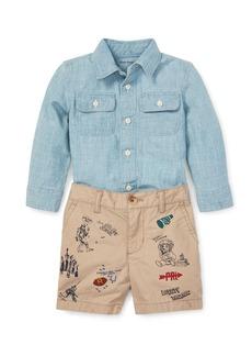 Ralph Lauren Childrenswear Chambray Top w/ Logo Printed Shorts  Size 6-24 Months