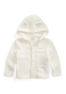 Ralph Lauren Childrenswear Combed Cotton Knit Bear Hooded Cardigan  Size 6-24 Months