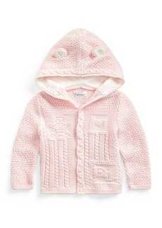 Ralph Lauren Childrenswear Combed Cotton Knit Bear Hooded Cardigan  Size 6-24 Months
