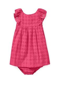 Ralph Lauren Childrenswear Eyelet Woven Ruffle-Trim Dress  Size 6-24 Months