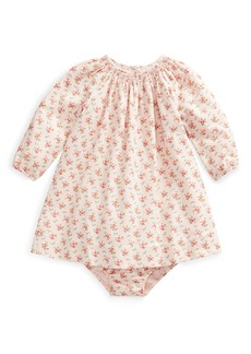 Ralph Lauren Childrenswear Floral-Print Smocked Long-Sleeve Dress w/ Bloomers  Size 6-24 Months