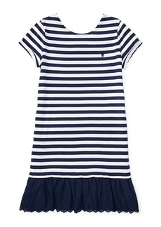 RALPH LAUREN CHILDRENSWEAR Girls 7-16 Girls Striped Cotton-Blend Dress