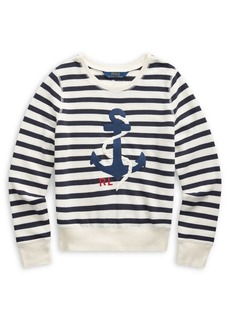 Ralph Lauren Childrenswear Girl's Anchor Cotton-Blend Sweatshirt