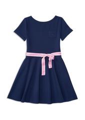 Ralph Lauren Childrenswear Girls' Belted Ponte Knit Dress - Big Kid