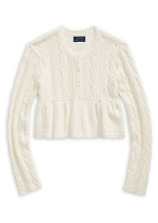 Ralph Lauren Childrenswear Girl's Cable-Knit Cotton-Blend Cardigan