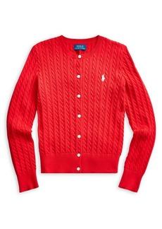 Ralph Lauren Childrenswear Girl's Cable-Knit Cotton Cardigan