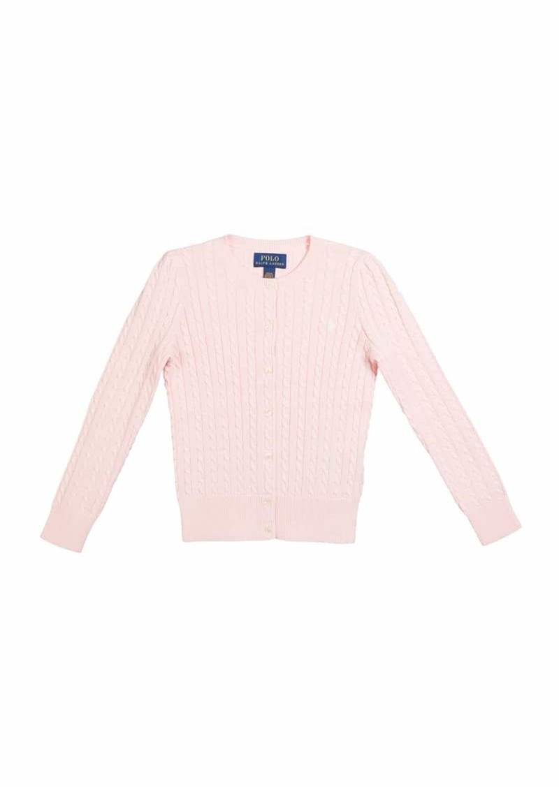 Ralph Lauren Childrenswear Girl's Cable-Knit Cotton Ribbed Cardigan  Size 5-6X
