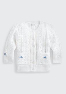 Ralph Lauren Childrenswear Girl's Pointelle-Knit Cotton Cardigan  Size 3-24M
