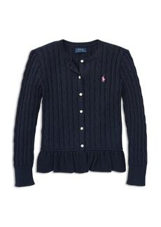 Ralph Lauren: Polo Polo Ralph Lauren Girls' Cable-Knit Ruffled Cardigan - Big Kid