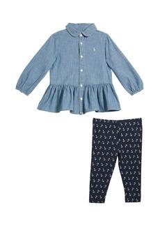 Ralph Lauren Childrenswear Girl's Chambray Peplum Top w/ Anchor Print Leggings  Size 6-24 Months