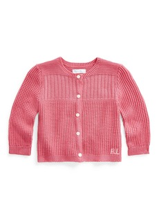 Ralph Lauren Childrenswear Girl's Combed Cotton Rib Knit Cardigan  Size 9-24M