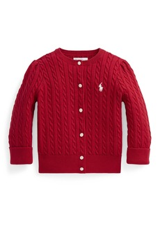 Ralph Lauren Childrenswear Girl's Cotton Cable-Knit Cardigan  Size 6-24M