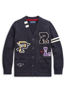 Ralph Lauren Childrenswear Girl's Cotton Letterman Cardigan