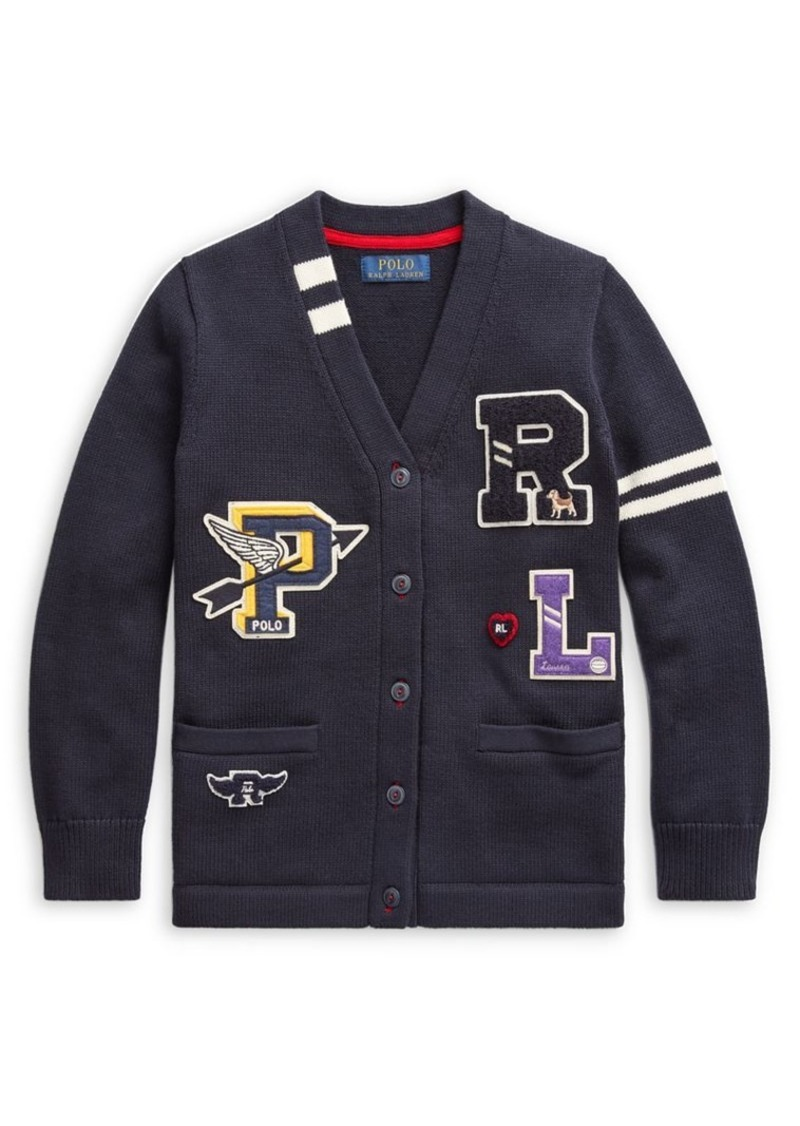 Ralph Lauren Childrenswear Girl's Cotton Letterman Cardigan