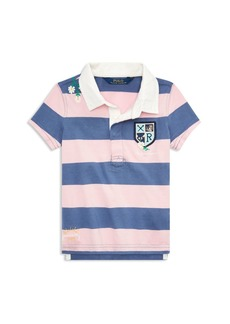 Ralph Lauren Childrenswear Girls' Embroidered Cotton Rugby Shirt - Little Kid