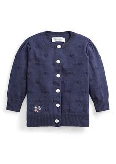 Ralph Lauren Childrenswear Girl's Embroidered Rib Knit Cardigan  Size 6-24M