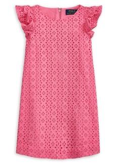 Ralph Lauren Childrenswear Little Girl's Eyelet Embroidered A-Line Cotton Dress