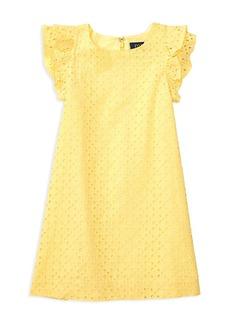Ralph Lauren Childrenswear Girls' Eyelet Ruffled Dress - Sizes 2-6X