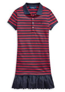 Ralph Lauren Childrenswear Girl's Eyelet Stretch-Cotton Polo Dress
