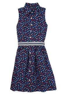 Ralph Lauren Childrenswear Girl's Flag Belted Cotton Shirtdress