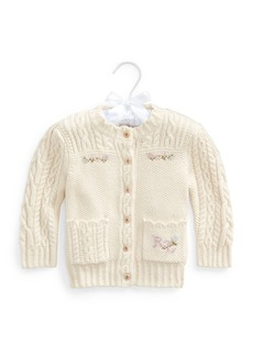 Ralph Lauren Childrenswear Girl's Floral Intarsia Cable Knit Cardigan  Size 6-24M