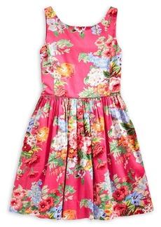 Ralph Lauren Childrenswear Girl's Floral-Print Cotton Sateen Dress