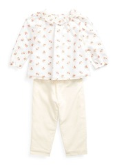 Ralph Lauren Childrenswear Girl's Floral Print Voile Woven Top w/ Solid Pants  Size 6-24 Months