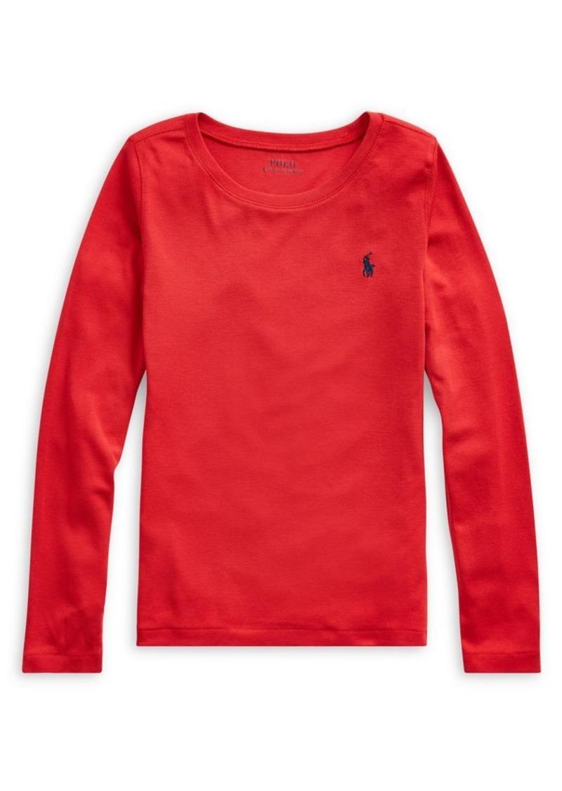 Ralph Lauren Childrenswear Girl's Long-Sleeve Cotton-Blend Tee