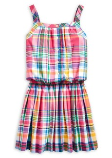 Ralph Lauren Childrenswear Girl's Madras Plaid-Print Cotton Dress