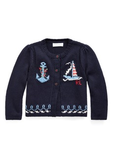 Ralph Lauren Childrenswear Girl's Nautical Intarsia Knit Cardigan  Size 6-24 Months