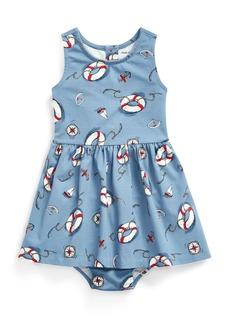 Ralph Lauren Childrenswear Girl's Nautical Print Sleeveless Dress w/ Matching Bloomers  Size 6-24 Months