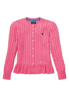 Ralph Lauren Childrenswear Girl's Peplum Cotton-Blend Cardigan