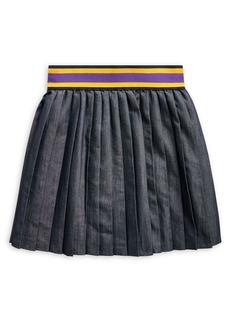 Ralph Lauren Childrenswear Girl's Pleated Cotton-Blend Twill Skirt