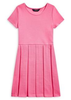 Ralph Lauren Childrenswear Girl's Pleated Ottoman-Rib Cotton-Blend Dress
