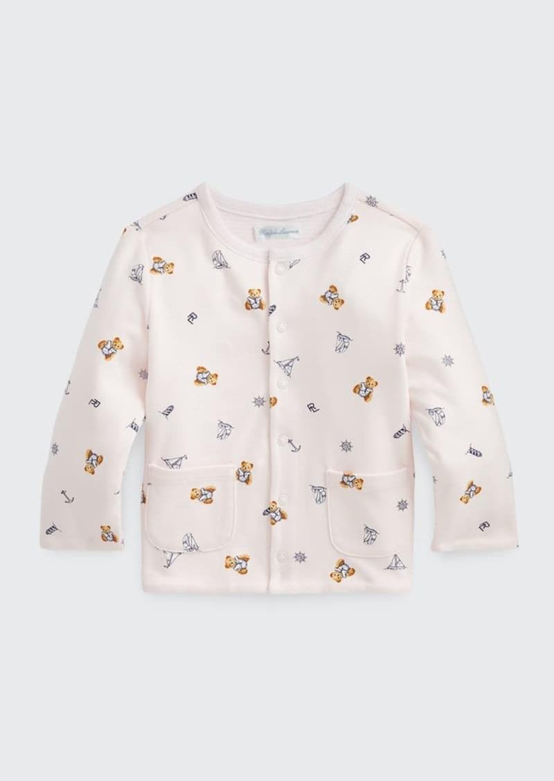 Ralph Lauren Childrenswear Girl's Polo Bear & Sailboat Pattern Cotton Cardigan  Size 6-24M