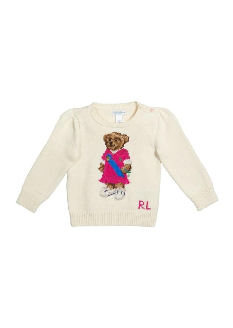 Ralph Lauren Childrenswear Girl's Polo Bear Intarsia Rib Knit Sweater  Size 9-24M