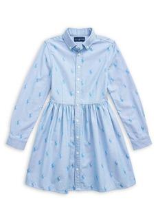 Ralph Lauren Childrenswear Little Girl's & Girl's Pony Chambray Shirtdress
