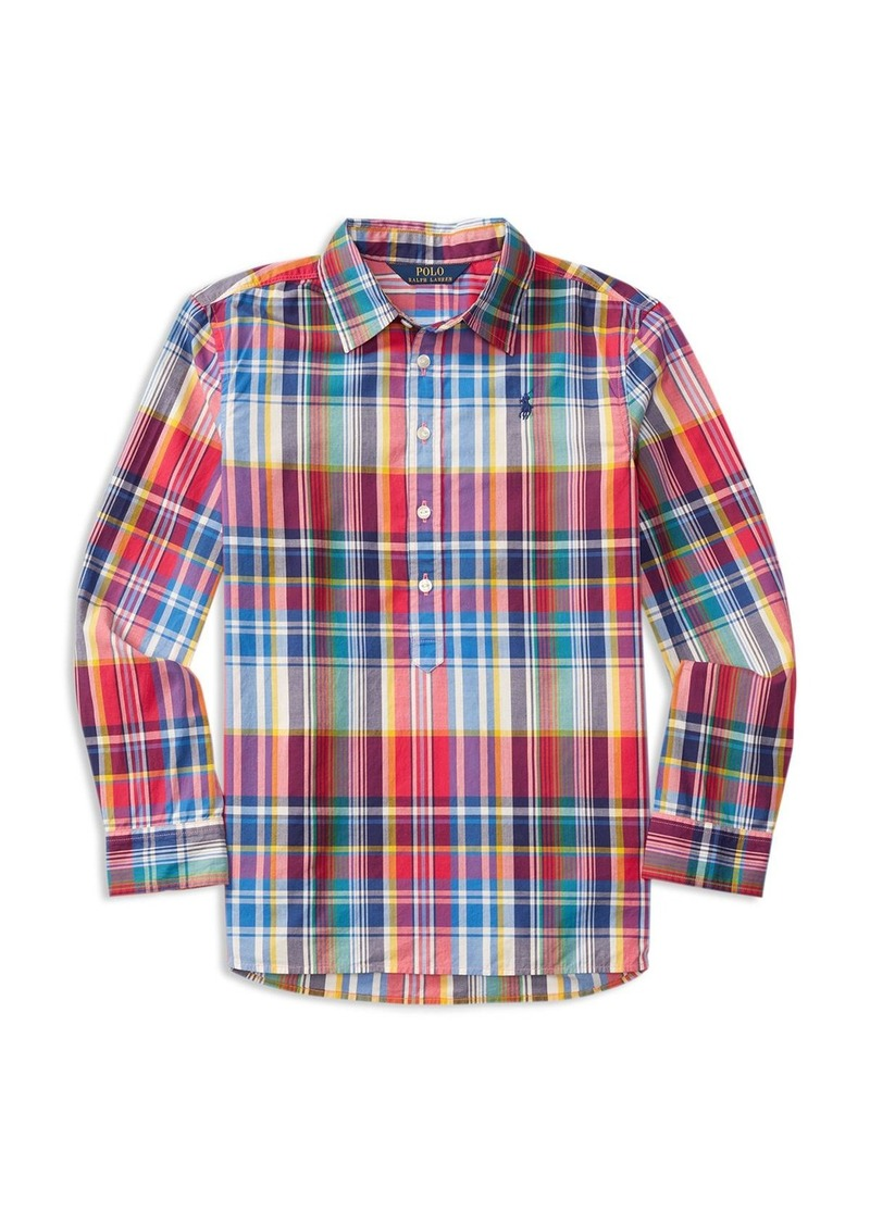 Ralph Lauren Childrenswear Girls' Popover Plaid Shirt - Sizes 7-16