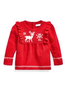 Ralph Lauren Childrenswear Girl's Reindeer Intarsia Ruffle Trim Sweater  Size 6-24 Months