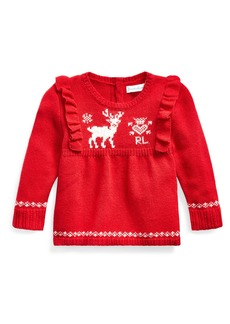Ralph Lauren Childrenswear Girl's Reindeer Intarsia Ruffle Trim Sweater  Size 6-24 Months